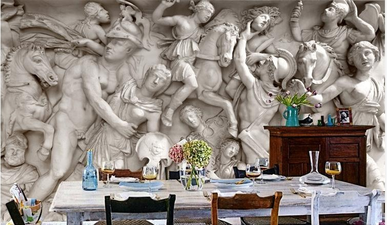 3d wallpaper greek roman statues art mural wall paper for 3d mural art in india