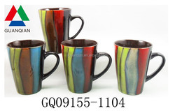 450CC reactive glaze dinnerware beer mug with colorful drawing and food safe
