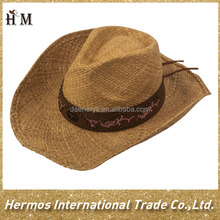 Man funny cowboy hat wide brim paper straw cowboy hat with good service