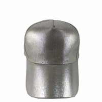 Silver PU Leather Baseball Cap Leather Baseball Cap