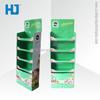 Haojun CMYK Supermarket 4 Pallets Pop Cardboard floor Facial Tissue / Wet Tissue Display Stand/Rack