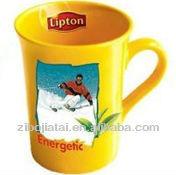 Yellow Glazed Ceramic Mug for Lipton with Decal Printing