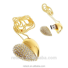64mb-64gb gadget metal heart jewelry cheap diamond ring usb flash drive