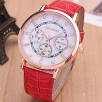 Genuine Or PU Leather Band Fashion Rose Gold Analog Digital Wrist Watch for Women