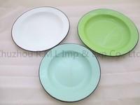 Enamel Plate/Enamel Wide Plate with rolled rim/High Quality Enamel plain plate