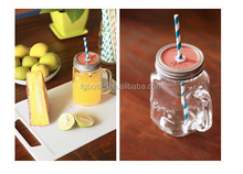 wholesale 16 oz Clear glass mason jars with chalk board straw and lid