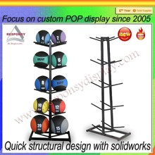 Custom double side metal basketball display stands for sports retail shop