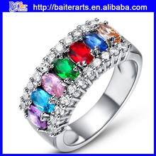 multi colorful diamond crystal ring wholesale jewelry, diamond jewelry ring gold-plated ring--nine colors
