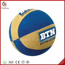 Fashion plush blue and yellow basketball toy soft stuffed basketball doll customized basketball