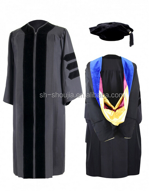 Matte College Graduation Cap And Gown Hot Style High Quality ...