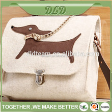 2014 hot sell wholesale wool felt bags from Italy roro made in China- in store-cow red leather
