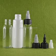 New design 60ml empty pet bottle black twist cap bottle, ejuice bottle with twist cap