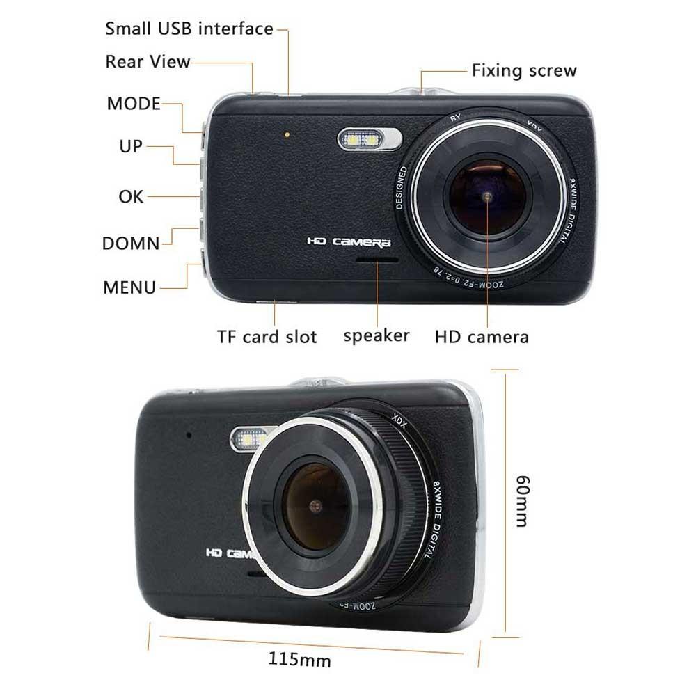 OEM Ultra HD 1296 P Double Caméra Voiture Dash Cam Avec 4 pouces D'affichage FCWS LDWS et FHD 1080 P Caméra de recul