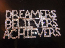 custom letter pin unique gift new fashion rhinestone brooch bling word pin DREAMERS/BELIEVERS/ACHIEVERS