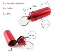 Outdoor Travel Pill Box Keychain Metal Aluminum Troche Case Container Pill Splitters 200pcs/lot