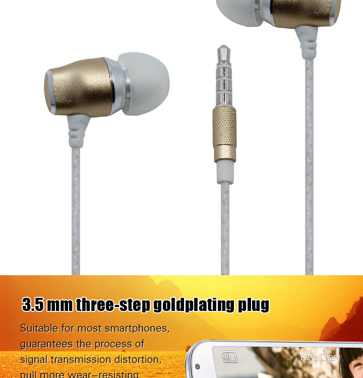 Guangzhou factory supply most popular metal earphones 3.5mm headphone with mic for cellphone