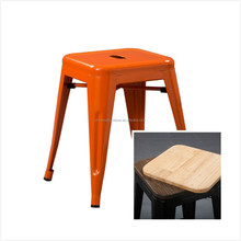 Orange stool with wood cushion or pu cushion for dining room