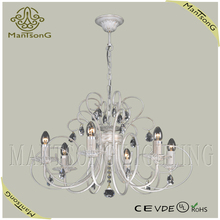 2015 trade assurance suppliers light new Iron light with crystal painting white candle chandelier