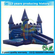 Cartoon data print blue inflatable bouncer castle