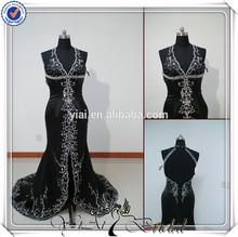ya0045 de cuentas halter sexy negro largo turca vestidodenoche 2015