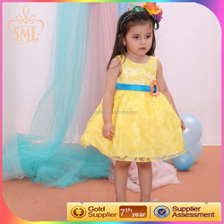 yellow butterfly ruffled party dresses, fashion girl dress wedding , child clothes 2015 new arrival
