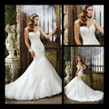 2013 de encaje de sirena exterior occidental atractivo elegante appliqued el vestido de boda blanco capas de organza de boda del