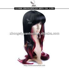 ZSY fashion higher quality lower price red black cosplay synthetic wigs