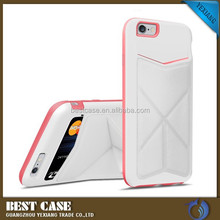 High quality pc tpu hybrid leather back cover case for iPhone 6 4.7 inch with Card Slot