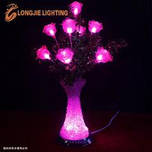 50cm 16 led pink roses crystal light vase with led light base