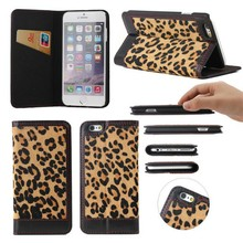 The leopard grain leather Phone case for iphone 6 Plus