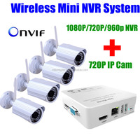 HD 720P HD Super Mini security 1MP ip camera Wireless WIFI 4 Channel 4CH wifi S 1080p/720P/960p NVR For IP Cameras CCTV System