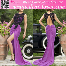 Wholesale plus size Sheer Lace Top Luxe Purple elegant christmas party dress