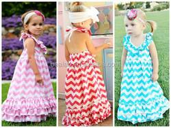 Newest Baby Girl Chevron Ruffle Dress Toddler Child Summer Beach Dress Cotton Maxi Dress
