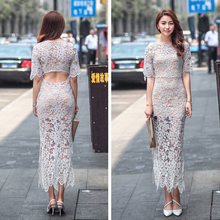 2015 Summer short sleeve sexy bodycon cocktail dresses maxi evening party fashion lace dress for wholesale