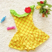 C85728A new fashion baby girl pineapple swimwear/girl's hot sale summer one-shoulder swimwear/wholesale one piece baby swimwear