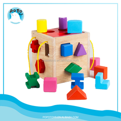 OEM custom wood blocks children toys wooden geometry blocks