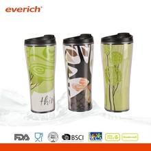 460ml bpa free double wall plastic coffee mug with straw
