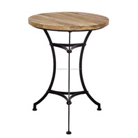 Vintage Copper Wrought Iron wooden Top Coffee Occasional Table