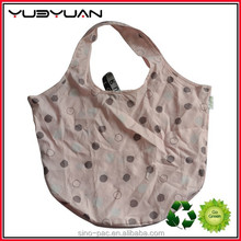 2015 Manufacturer best selling fashion cheap simple portable pink flower printing 420 D nylon foldable reusable shopping bag