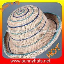 Fashion Summer Rush Straw Dome Mid Brim Stripe Lady Derby Hat Wholesale