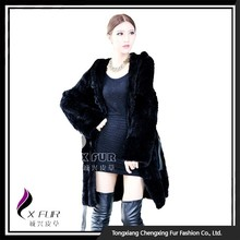 CX-G-A-46C Woman Clothes Knitted Mink Fur Russian , Long Coat