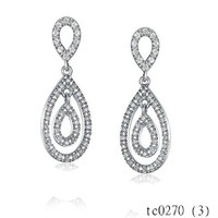 Yiwu Costome Jewerly Hot New Products For 2015 Low Moq Jewelry Double Open Pave CZ Long Teardrop Dangle Earrings