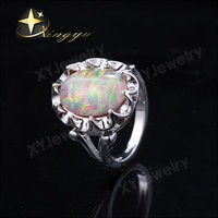 s925 silver ring design with oval shape black cherry opal stone for present XYR300318