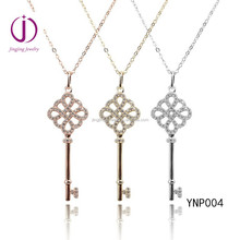 Charming Fair Temperament hot fashion micro pave rose sterling silver charm key pendants