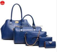 European and American Crocodile high-end three-piece bag, stone rose 5 pcs per set Handbags/shoulder bags/one shoulder bags/