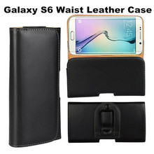 Lychee Pattern & Plain Pattern Waist Hanging Business Phone Leather Cover Case For Samsung Galaxy S6