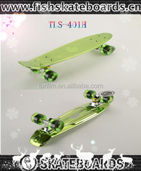 22inch customized plastic vacuum metalizing skateboard fish longboard skateboard for cheap sale,