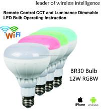 Smart RGBW wifi led bulb control 7W 9W 12W 18W BR30 BR40