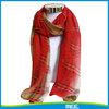 2015 summer chiffon red plaid scarf