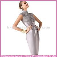 HC4238 The Whole Sale Knee Length Appliqued Sheath Cap Sleeve Dark Grey High Neck Evening Dress